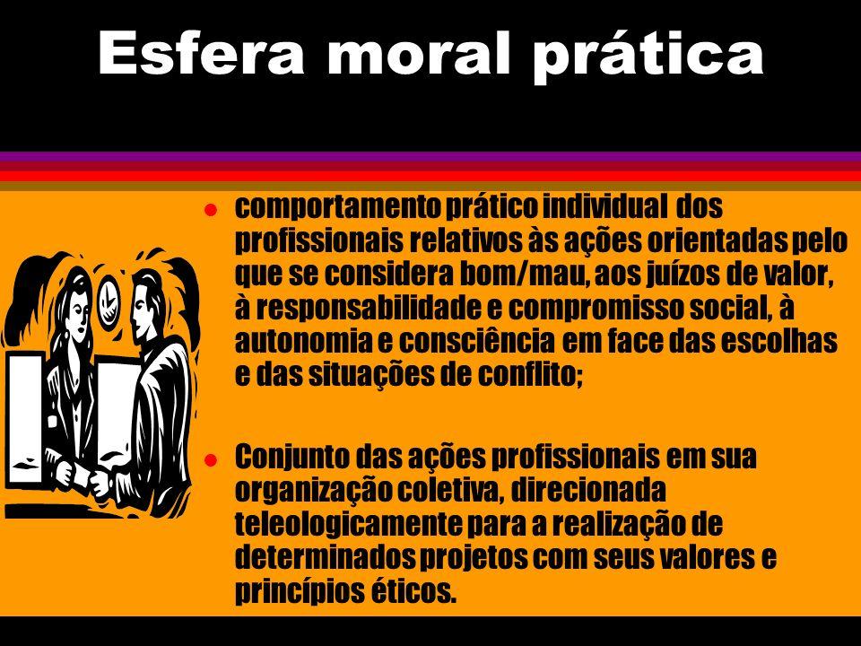 Esfera moral prática l comportamento prático individual dos profissionais relativos às ações orientadas pelo que se considera bom/mau, aos juízos de v