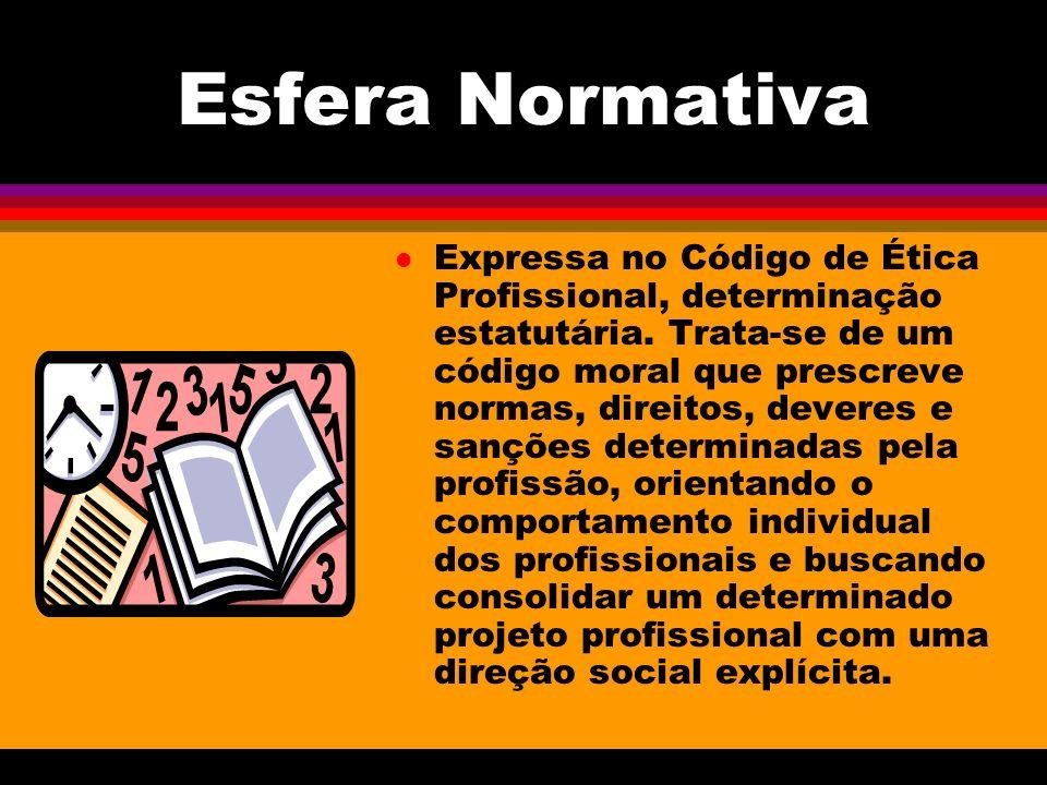 Esfera Normativa l Expressa no Código de Ética Profissional, determinação estatutária. Trata-se de um código moral que prescreve normas, direitos, dev