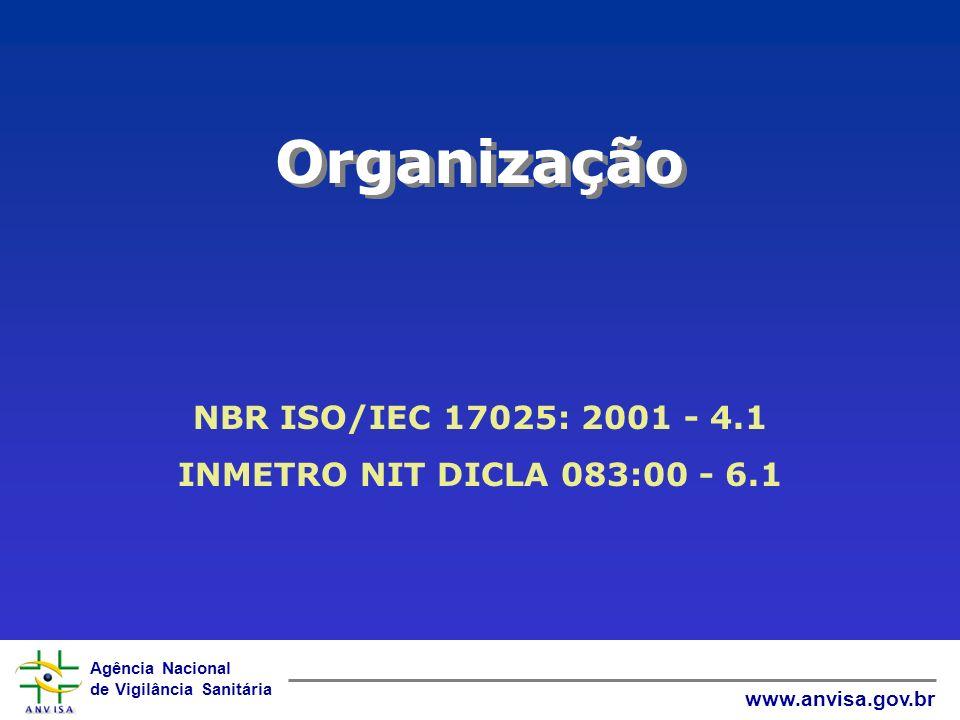 Agência Nacional de Vigilância Sanitária www.anvisa.gov.br Organização NBR ISO/IEC 17025: 2001 - 4.1 INMETRO NIT DICLA 083:00 - 6.1