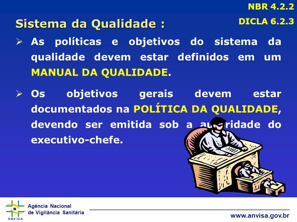 Agência Nacional de Vigilância Sanitária www.anvisa.gov.br ØAs políticas e objetivos do sistema da qualidade devem estar definidos em um MANUAL DA QUALIDADE.