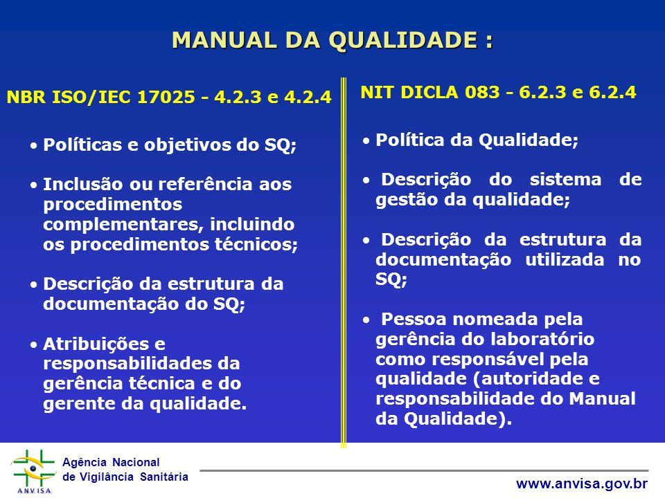 Agência Nacional de Vigilância Sanitária www.anvisa.gov.br MANUAL DA QUALIDADE : NBR ISO/IEC 17025 - 4.2.3 e 4.2.4 Políticas e objetivos do SQ; Inclusão ou referência aos procedimentos complementares, incluindo os procedimentos técnicos; Descrição da estrutura da documentação do SQ; Atribuições e responsabilidades da gerência técnica e do gerente da qualidade.