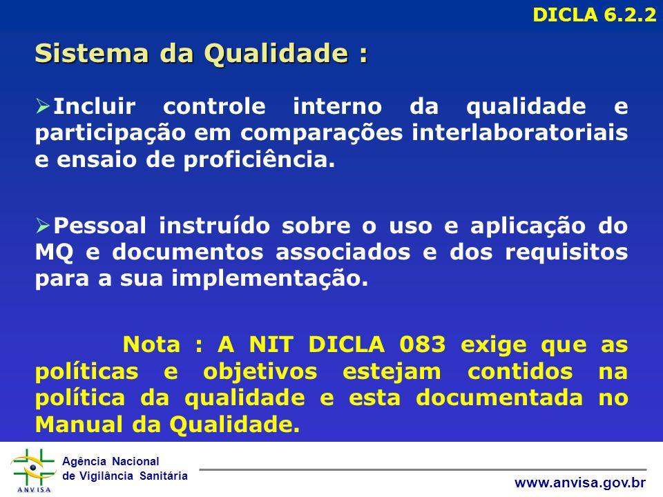 Agência Nacional de Vigilância Sanitária www.anvisa.gov.br Ø Incluir controle interno da qualidade e participação em comparações interlaboratoriais e ensaio de proficiência.