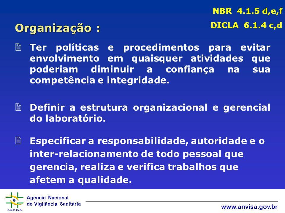 Agência Nacional de Vigilância Sanitária www.anvisa.gov.br 2 Ter políticas e procedimentos para evitar envolvimento em quaisquer atividades que poderiam diminuir a confiança na sua competência e integridade.