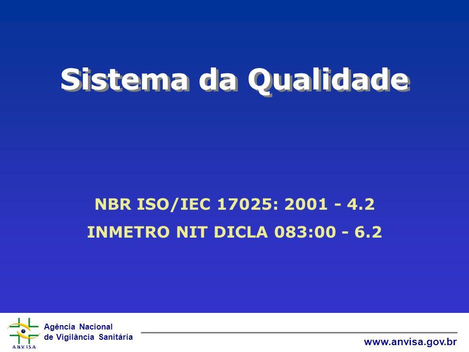 Agência Nacional de Vigilância Sanitária www.anvisa.gov.br Sistema da Qualidade NBR ISO/IEC 17025: 2001 - 4.2 INMETRO NIT DICLA 083:00 - 6.2