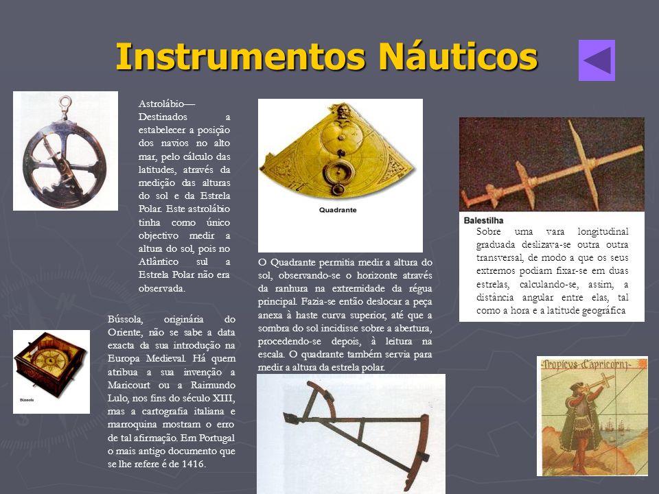 Astrolábio Destinados a estabelecer a posição dos navios no alto mar, pelo cálculo das latitudes, através da medição das alturas do sol e da Estrela P