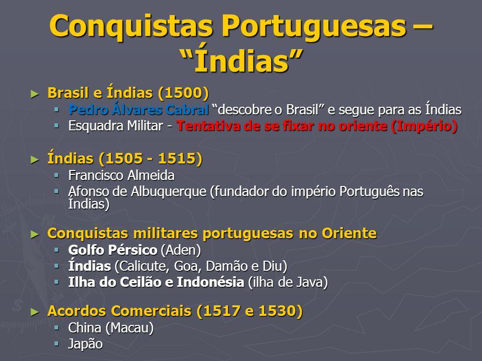 Conquistas Portuguesas – Índias Brasil e Índias (1500) Brasil e Índias (1500) Pedro Álvares Cabral descobre o Brasil e segue para as Índias Pedro Álva