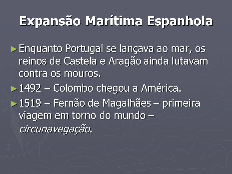 Expansão Marítima Espanhola Enquanto Portugal se lançava ao mar, os reinos de Castela e Aragão ainda lutavam contra os mouros. Enquanto Portugal se la
