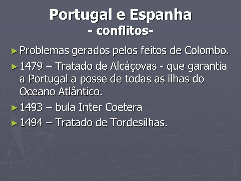 Portugal e Espanha - conflitos- Problemas gerados pelos feitos de Colombo. Problemas gerados pelos feitos de Colombo. 1479 – Tratado de Alcáçovas - qu