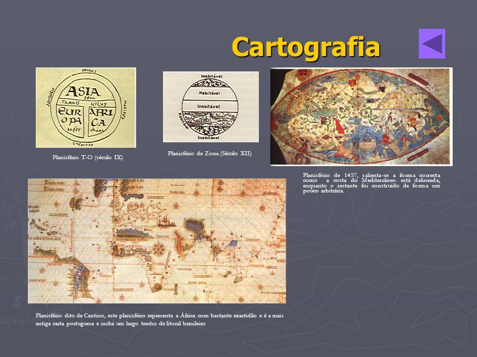 Cartografia Planisfério T-O (século IX) Planisfério de Zona (Século XII) Planisfério dito de Cantino, este planisfério representa a África com bastant