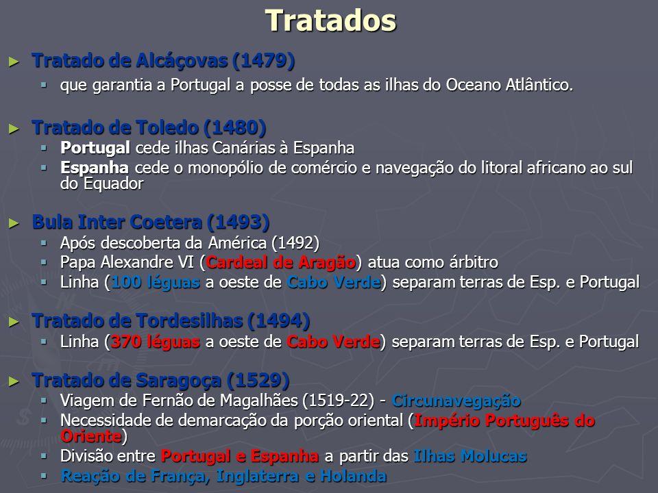 Tratados Tratado de Alcáçovas (1479) Tratado de Alcáçovas (1479) que garantia a Portugal a posse de todas as ilhas do Oceano Atlântico. que garantia a