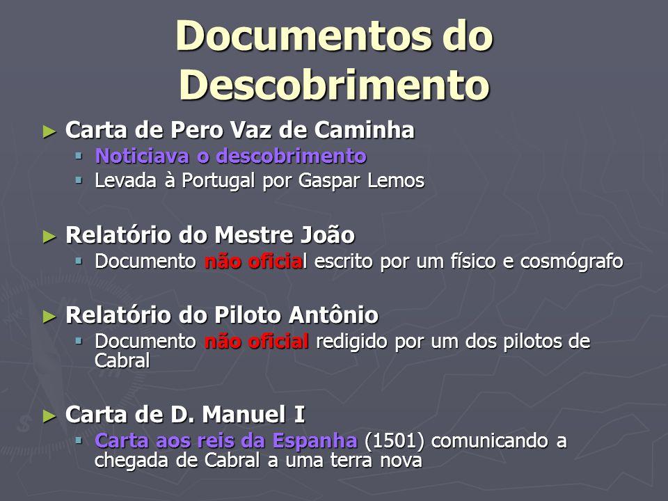 Documentos do Descobrimento Carta de Pero Vaz de Caminha Carta de Pero Vaz de Caminha Noticiava o descobrimento Noticiava o descobrimento Levada à Por