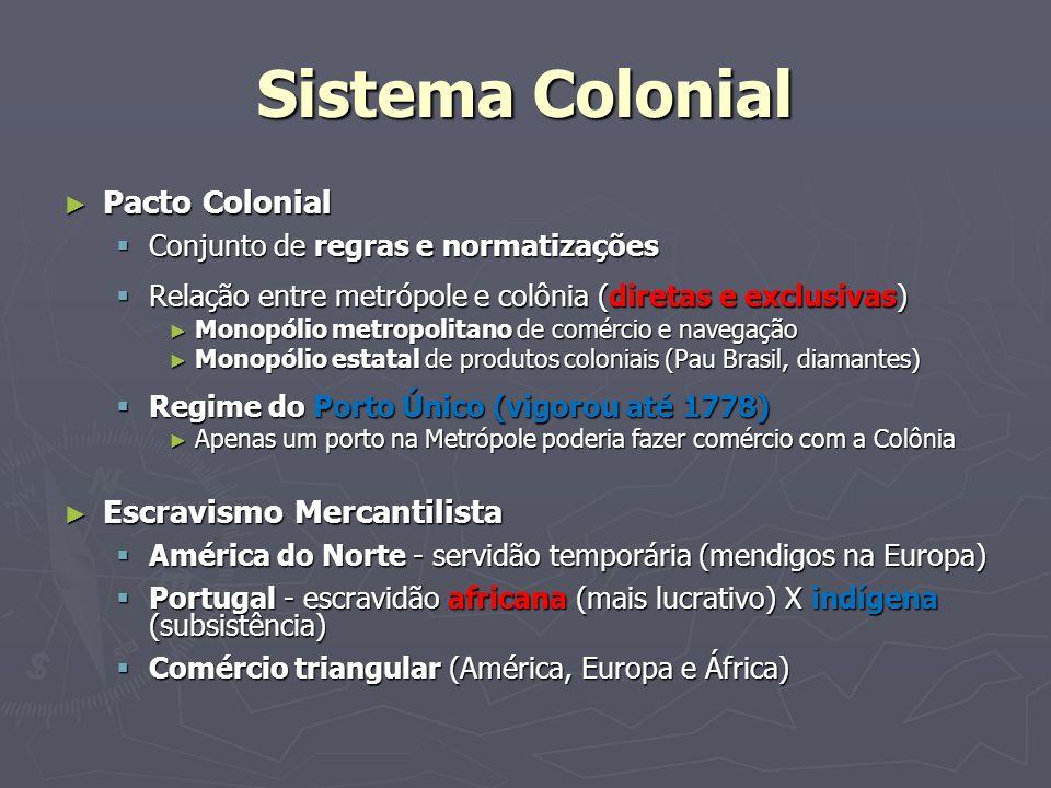 Sistema Colonial Pacto Colonial Pacto Colonial Conjunto de regras e normatizações Conjunto de regras e normatizações Relação entre metrópole e colônia