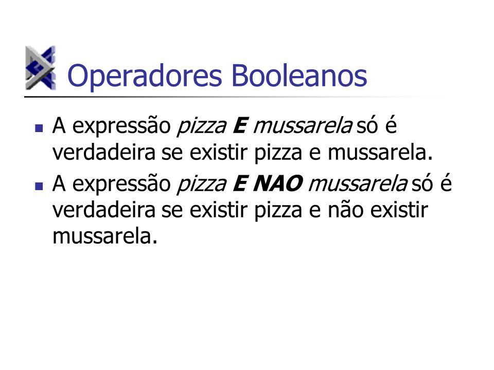 Operadores Booleanos A expressão pizza E mussarela só é verdadeira se existir pizza e mussarela. A expressão pizza E NAO mussarela só é verdadeira se