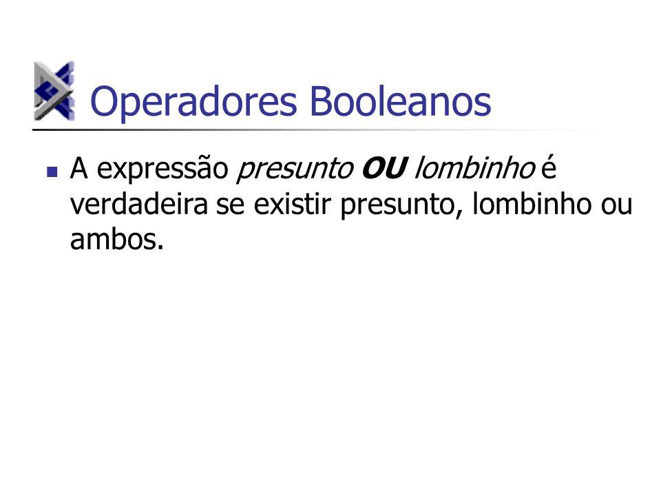 Operadores Booleanos A expressão presunto OU lombinho é verdadeira se existir presunto, lombinho ou ambos.