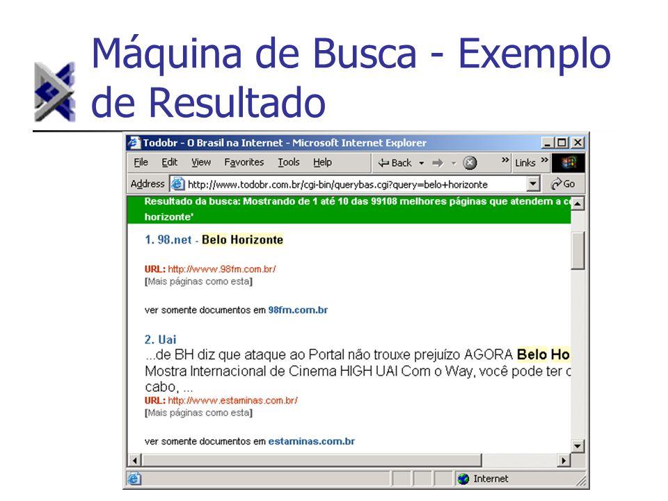 Máquina de Busca - Exemplo de Resultado