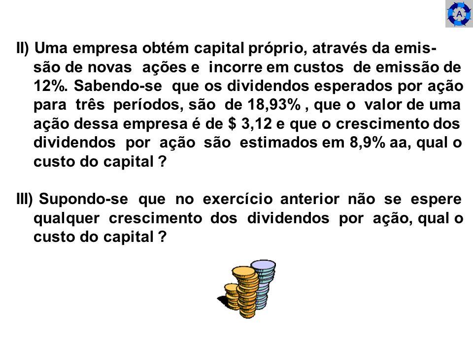 II) Uma empresa obtém capital próprio, através da emis- são de novas ações e incorre em custos de emissão de 12%. Sabendo-se que os dividendos esperad
