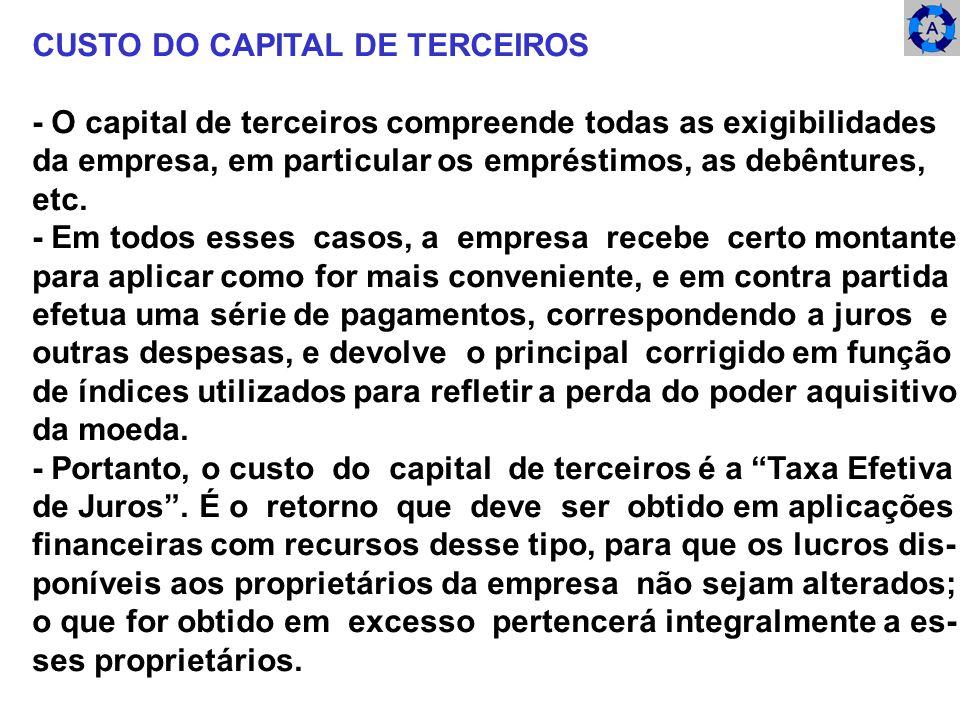 CUSTO DO CAPITAL DE TERCEIROS - O capital de terceiros compreende todas as exigibilidades da empresa, em particular os empréstimos, as debêntures, etc