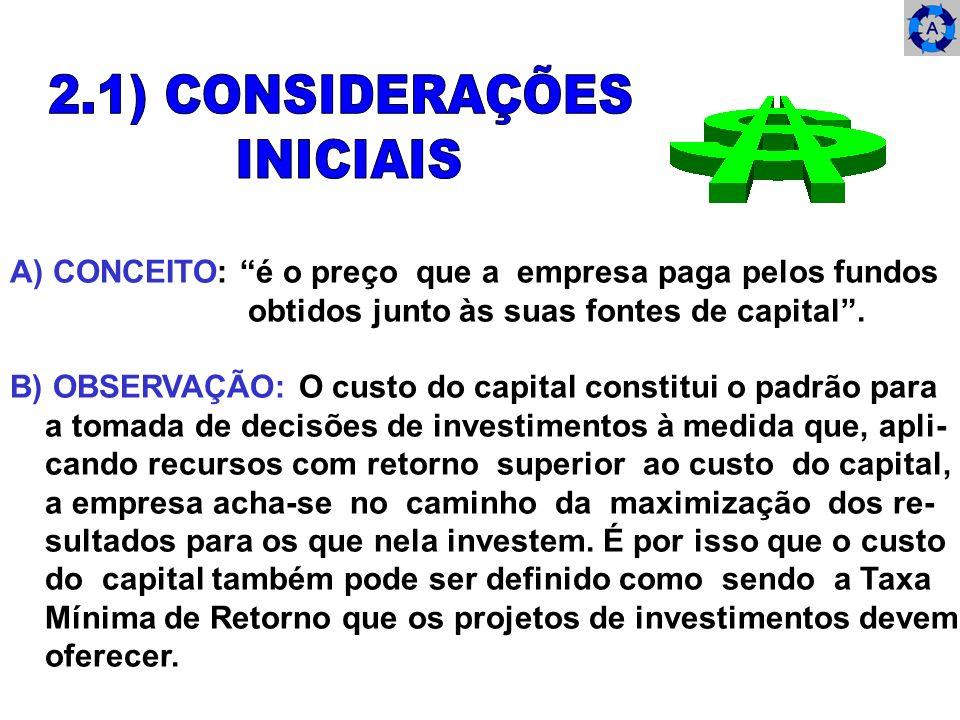 A) CONCEITO: é o preço que a empresa paga pelos fundos obtidos junto às suas fontes de capital. B) OBSERVAÇÃO: O custo do capital constitui o padrão p