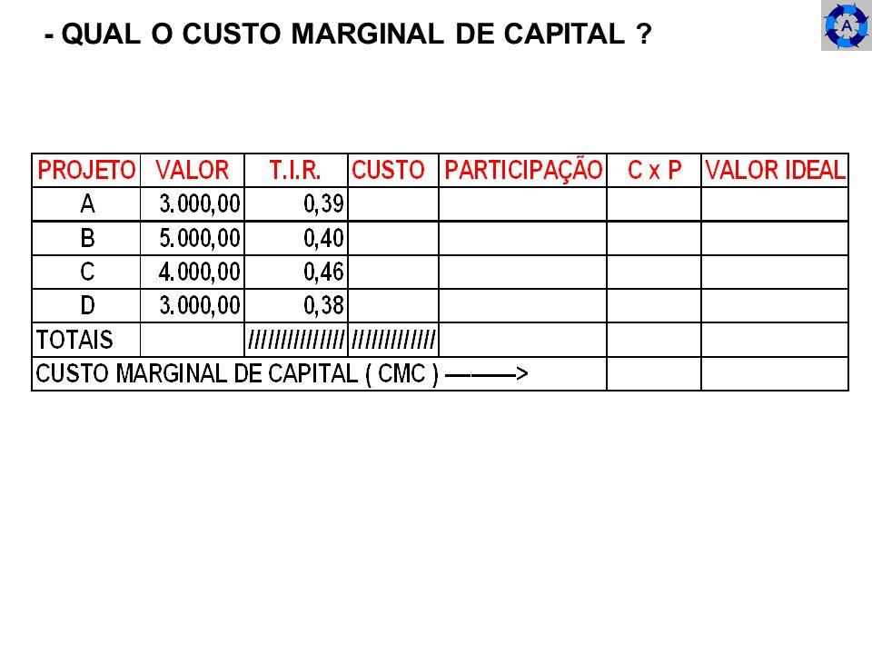 - QUAL O CUSTO MARGINAL DE CAPITAL ?