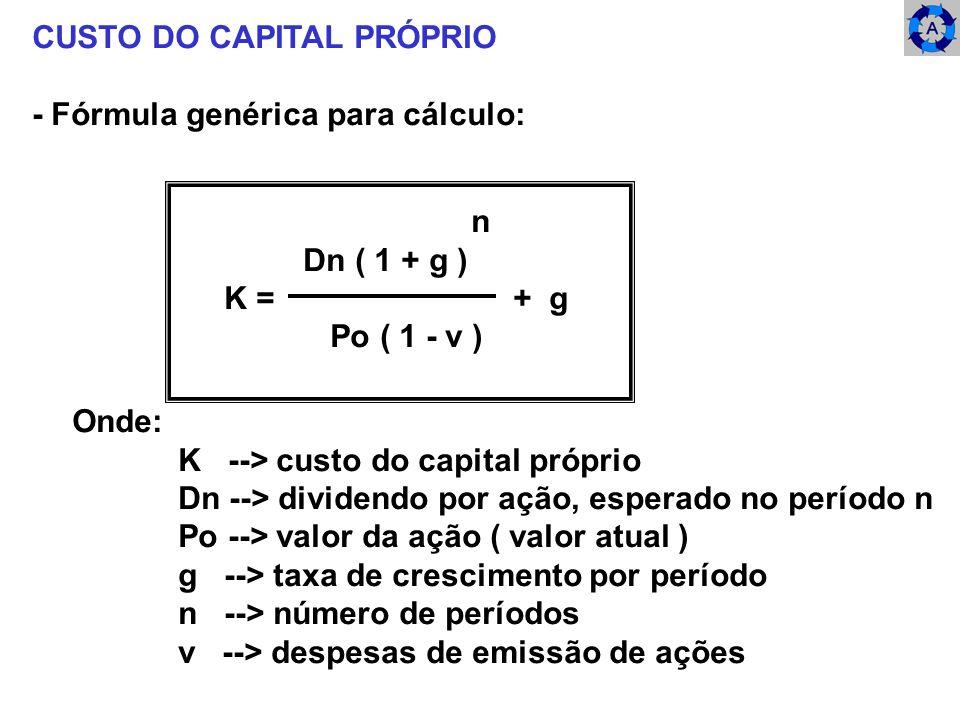 CUSTO DO CAPITAL PRÓPRIO - Fórmula genérica para cálculo: Onde: K --> custo do capital próprio Dn --> dividendo por ação, esperado no período n Po -->