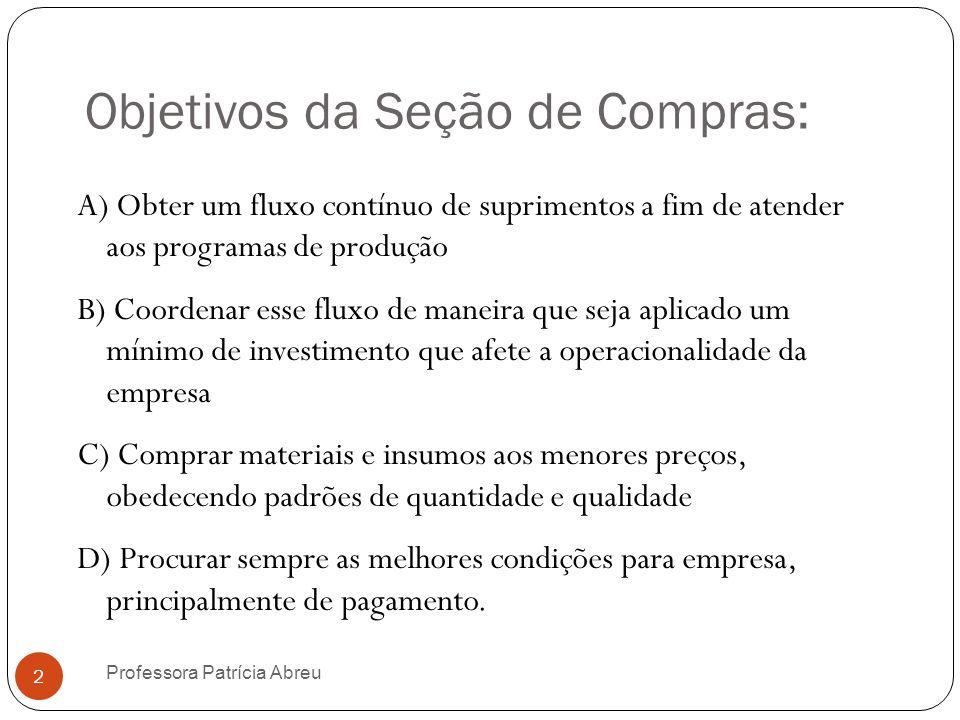 Objetivos da Seção de Compras: A) Obter um fluxo contínuo de suprimentos a fim de atender aos programas de produção B) Coordenar esse fluxo de maneira