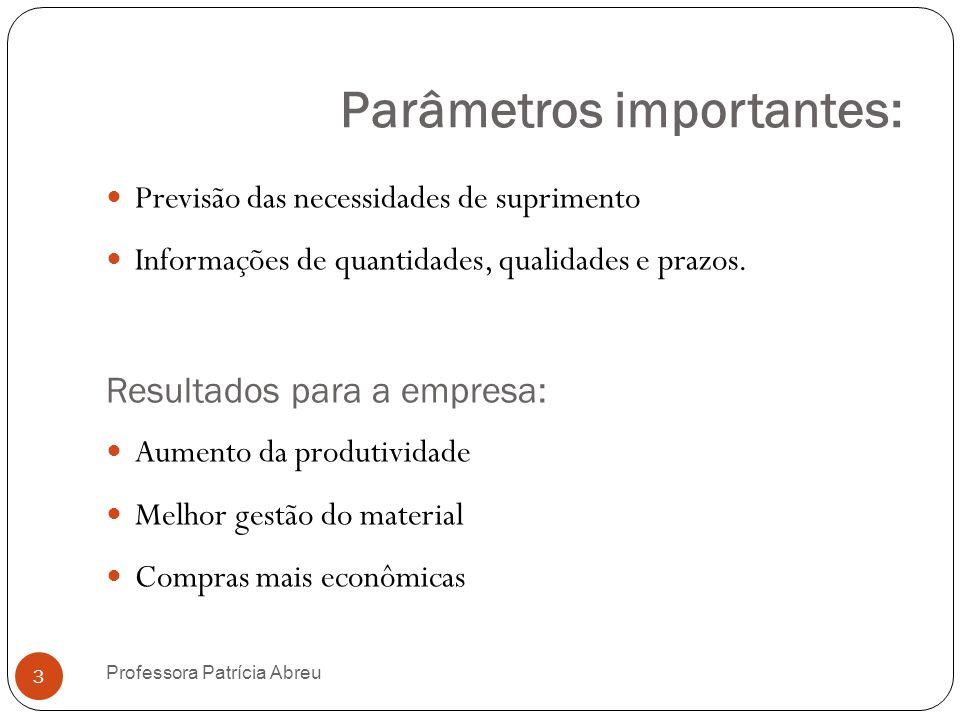Parâmetros importantes: Previsão das necessidades de suprimento Informações de quantidades, qualidades e prazos. Resultados para a empresa: Aumento da