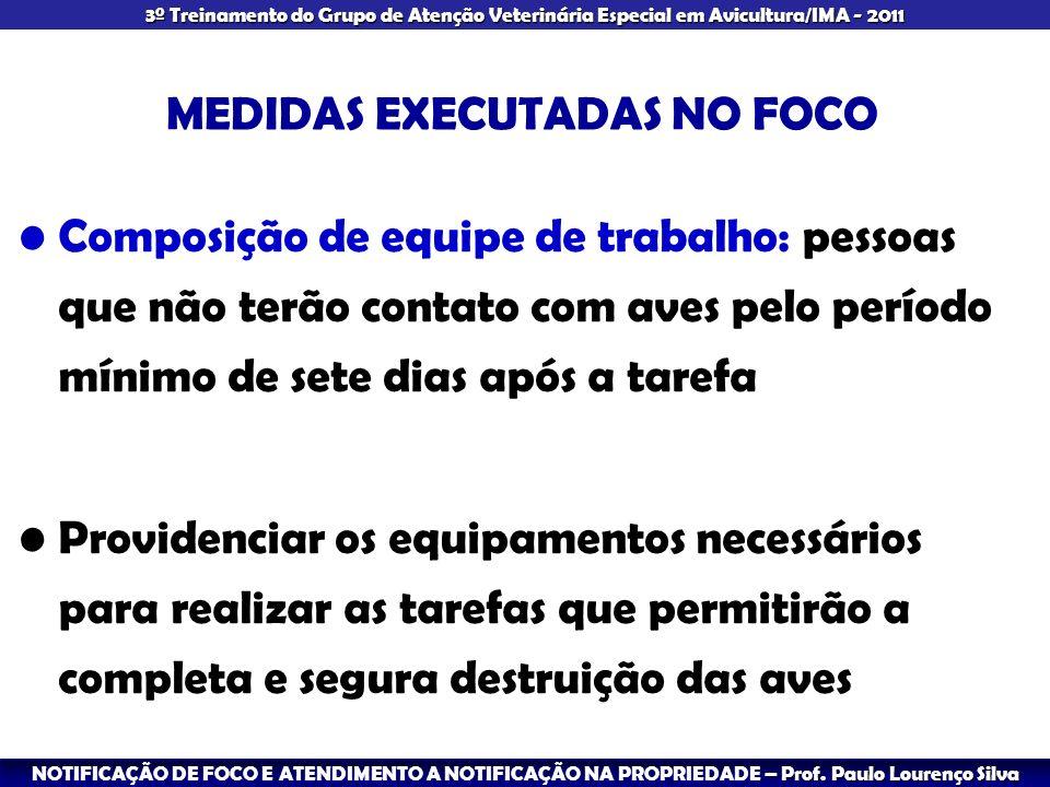 3º Treinamento do Grupo de Atenção Veterinária Especial em Avicultura/IMA - 2011 MEDIDAS EXECUTADAS NO FOCO Composição de equipe de trabalho: pessoas