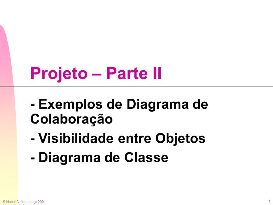 © Nabor C. Mendonça 2001 1 Projeto – Parte II - Exemplos de Diagrama de Colaboração - Visibilidade entre Objetos - Diagrama de Classe