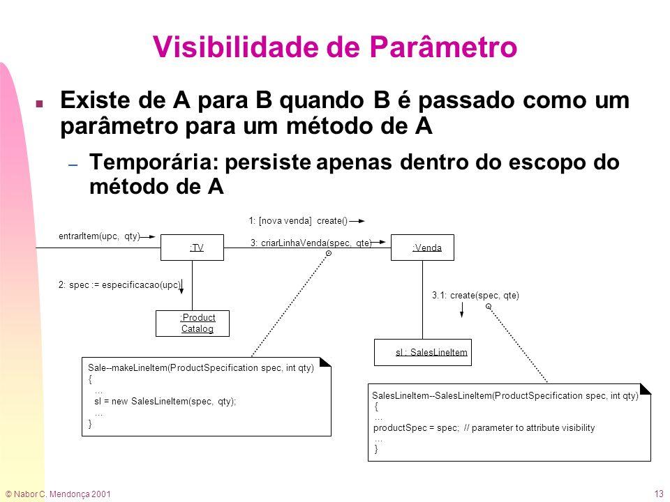 © Nabor C. Mendonça 2001 13 Visibilidade de Parâmetro n Existe de A para B quando B é passado como um parâmetro para um método de A – Temporária: pers