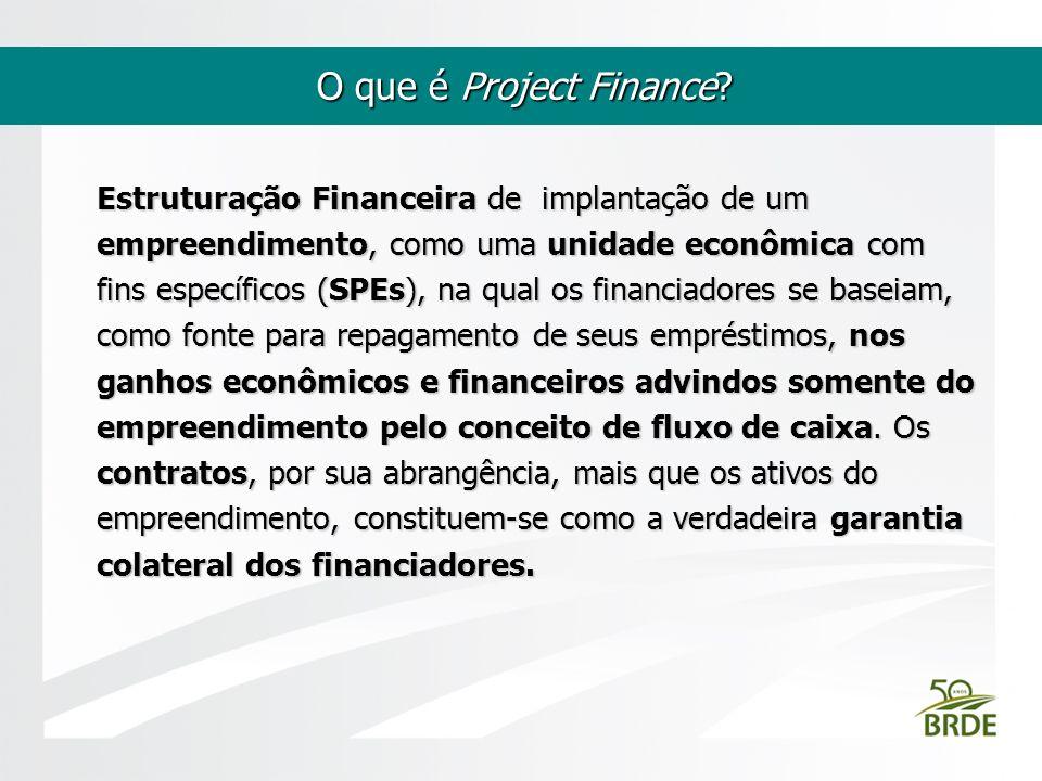 O que é Project Finance? Estruturação Financeira de implantação de um empreendimento, como uma unidade econômica com fins específicos (SPEs), na qual