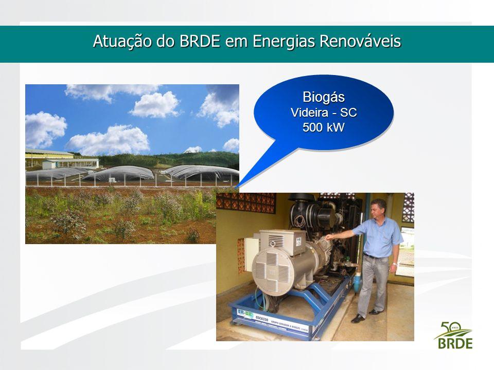 Atuação do BRDE em Energias Renováveis Biogás Videira - SC 500 kW Biogás Videira - SC 500 kW
