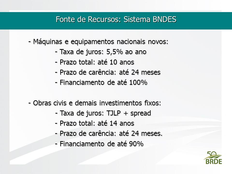 Fonte de Recursos: Sistema BNDES - Máquinas e equipamentos nacionais novos: - Taxa de juros: 5,5% ao ano - Taxa de juros: 5,5% ao ano - Prazo total: a