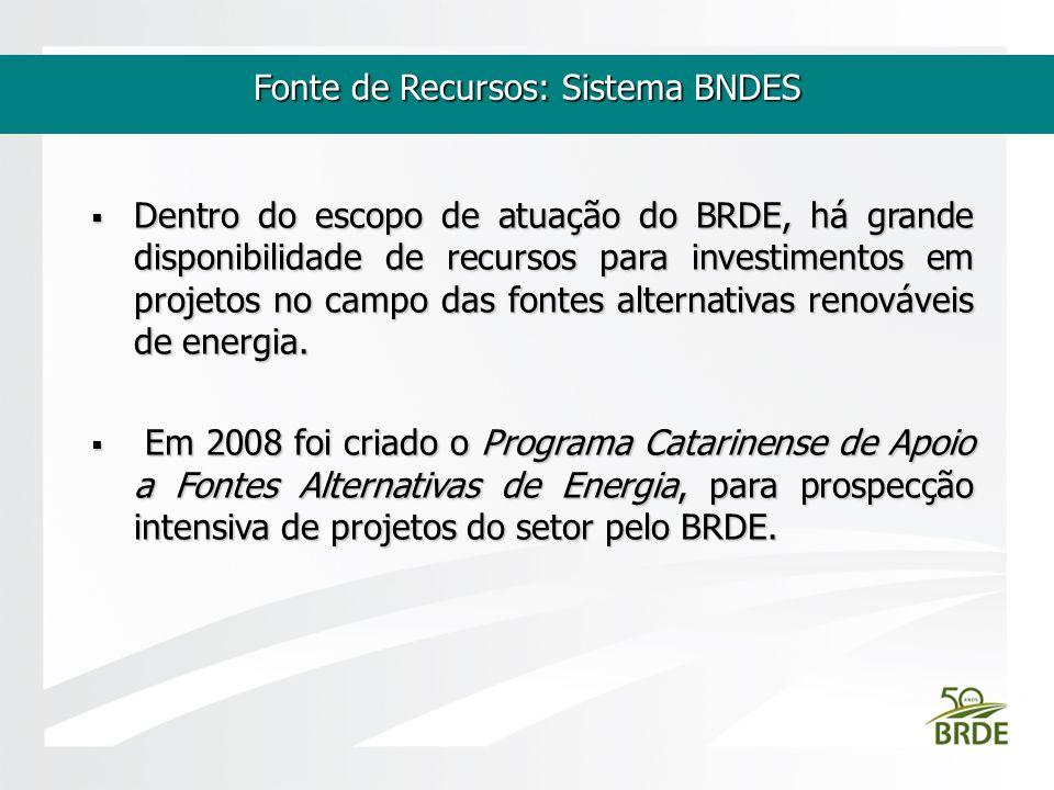 Fonte de Recursos: Sistema BNDES Dentro do escopo de atuação do BRDE, há grande disponibilidade de recursos para investimentos em projetos no campo da