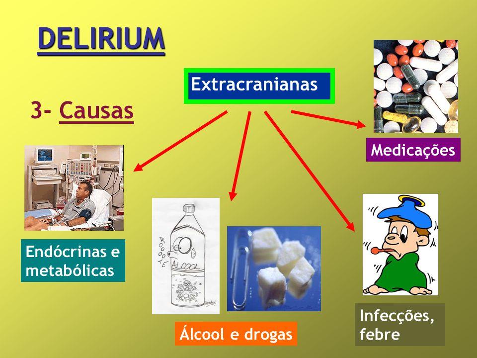 DELIRIUM 3- Causas Extracranianas Endócrinas e metabólicas Álcool e drogas Medicações Infecções, febre