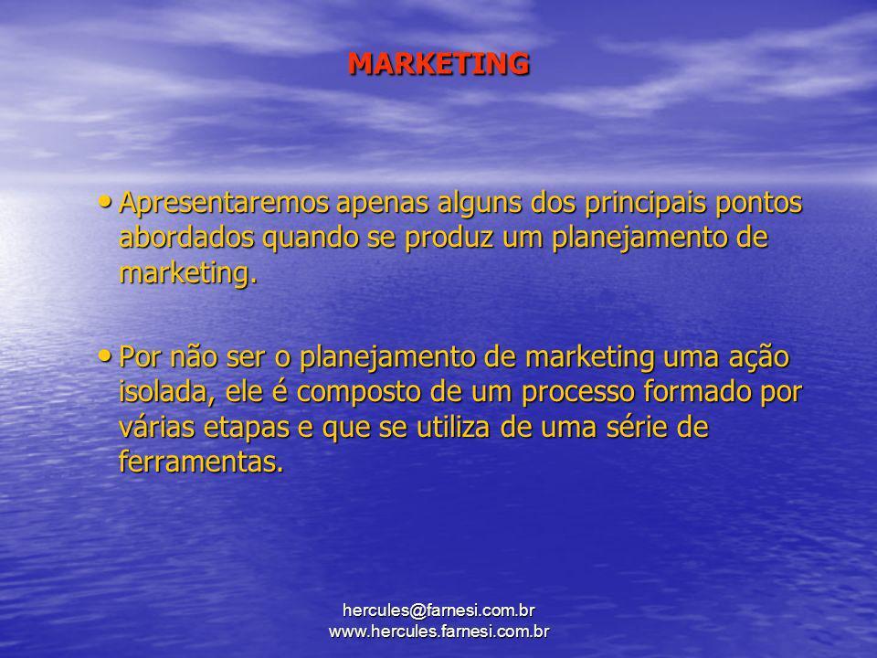 hercules@farnesi.com.br www.hercules.farnesi.com.br MARKETING Apresentaremos apenas alguns dos principais pontos abordados quando se produz um planeja