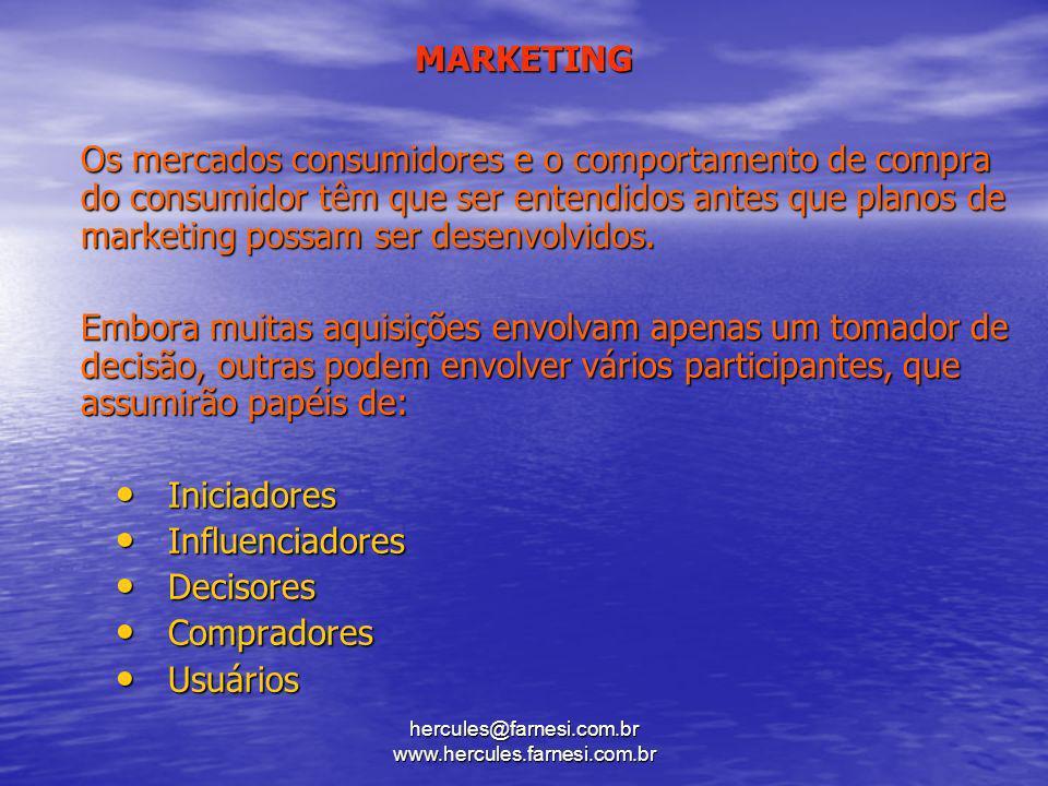 hercules@farnesi.com.br www.hercules.farnesi.com.br MARKETING Os mercados consumidores e o comportamento de compra do consumidor têm que ser entendido