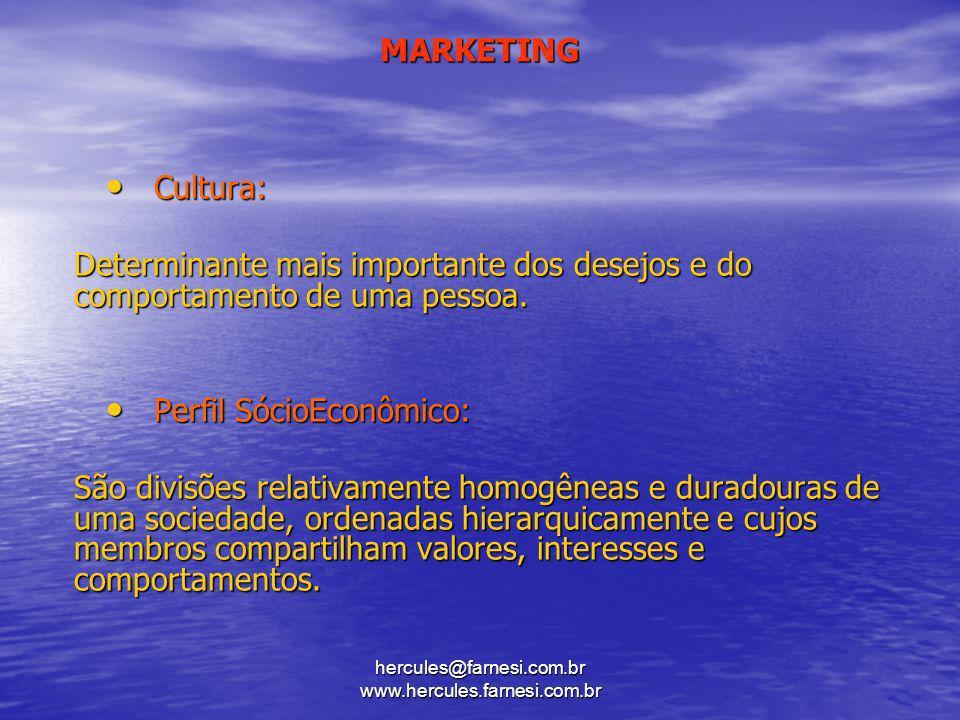 MARKETING Cultura: Cultura: Determinante mais importante dos desejos e do comportamento de uma pessoa. Perfil SócioEconômico: Perfil SócioEconômico: