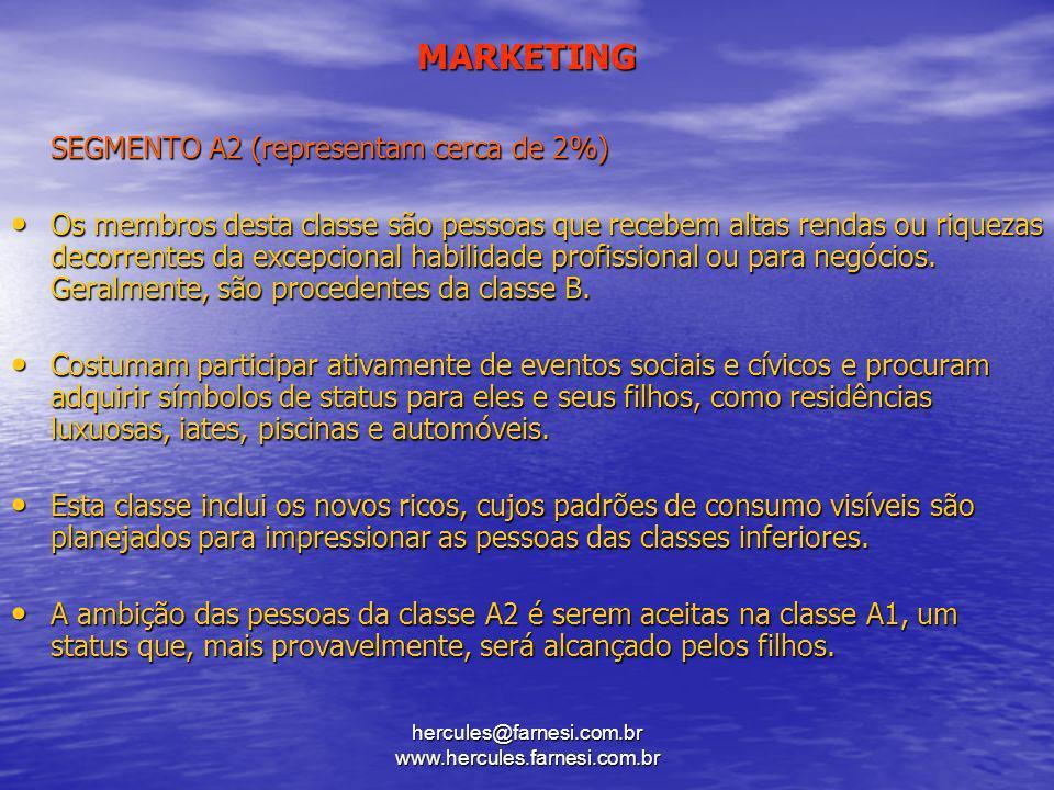 hercules@farnesi.com.br www.hercules.farnesi.com.br MARKETING SEGMENTO A2 (representam cerca de 2%) Os membros desta classe são pessoas que recebem al