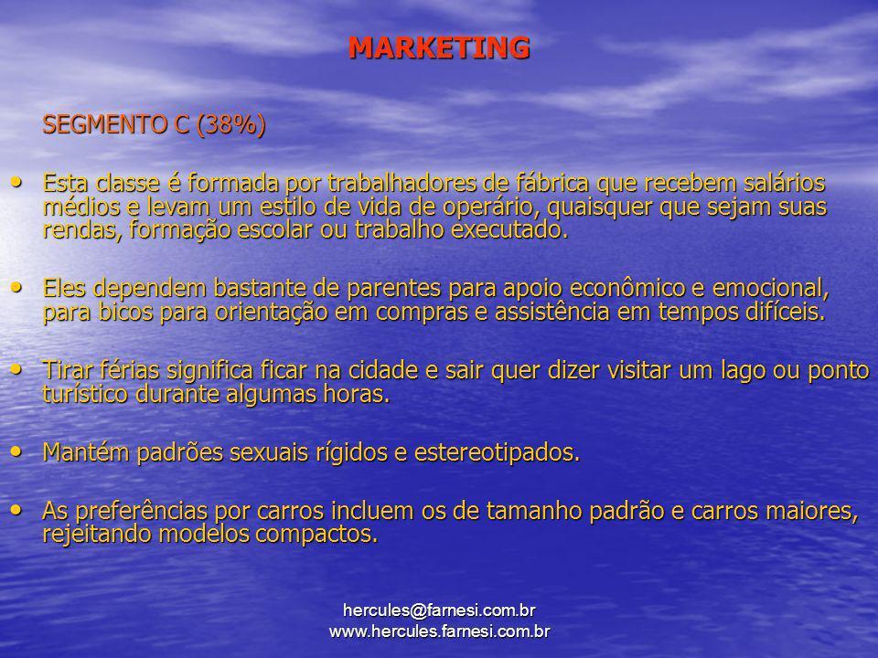 hercules@farnesi.com.br www.hercules.farnesi.com.br MARKETING SEGMENTO C (38%) Esta classe é formada por trabalhadores de fábrica que recebem salários