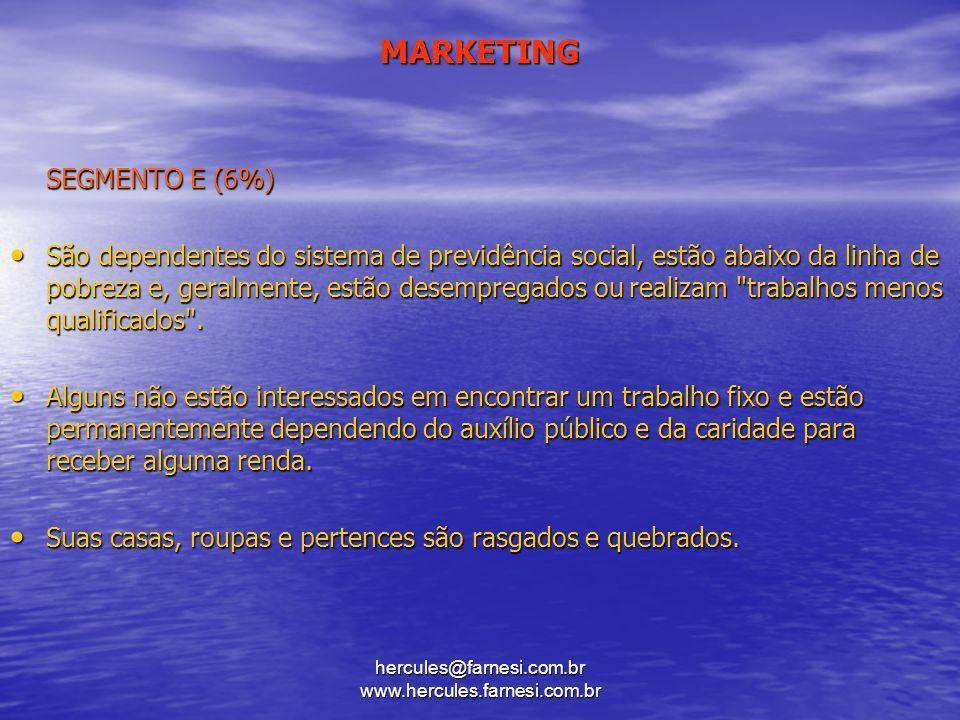 hercules@farnesi.com.br www.hercules.farnesi.com.br MARKETING SEGMENTO E (6%) São dependentes do sistema de previdência social, estão abaixo da linha