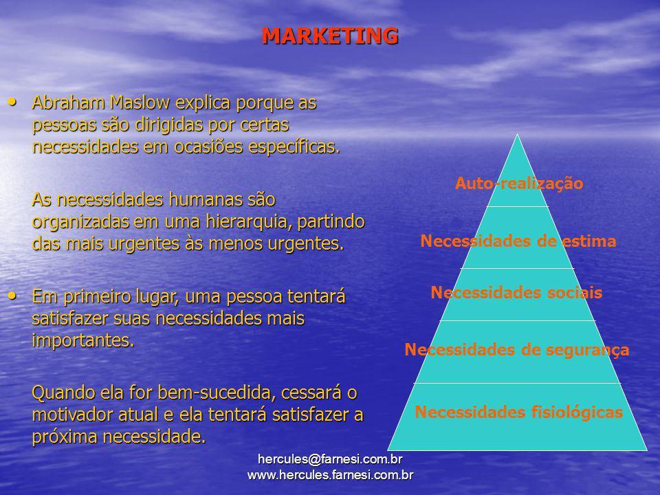 hercules@farnesi.com.br www.hercules.farnesi.com.br MARKETING Auto-realização Necessidades de estima Necessidades sociais Necessidades de segurança Ne