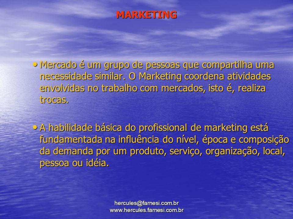 hercules@farnesi.com.br www.hercules.farnesi.com.br MARKETING Mercado é um grupo de pessoas que compartilha uma necessidade similar. O Marketing coord