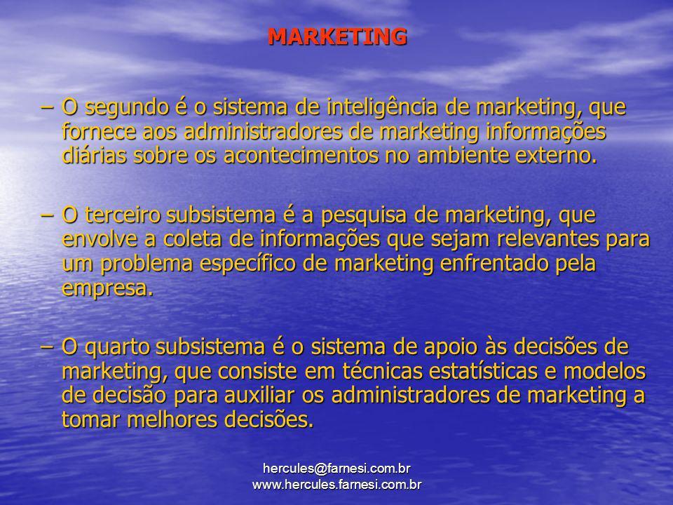 hercules@farnesi.com.br www.hercules.farnesi.com.br MARKETING –O segundo é o sistema de inteligência de marketing, que fornece aos administradores de