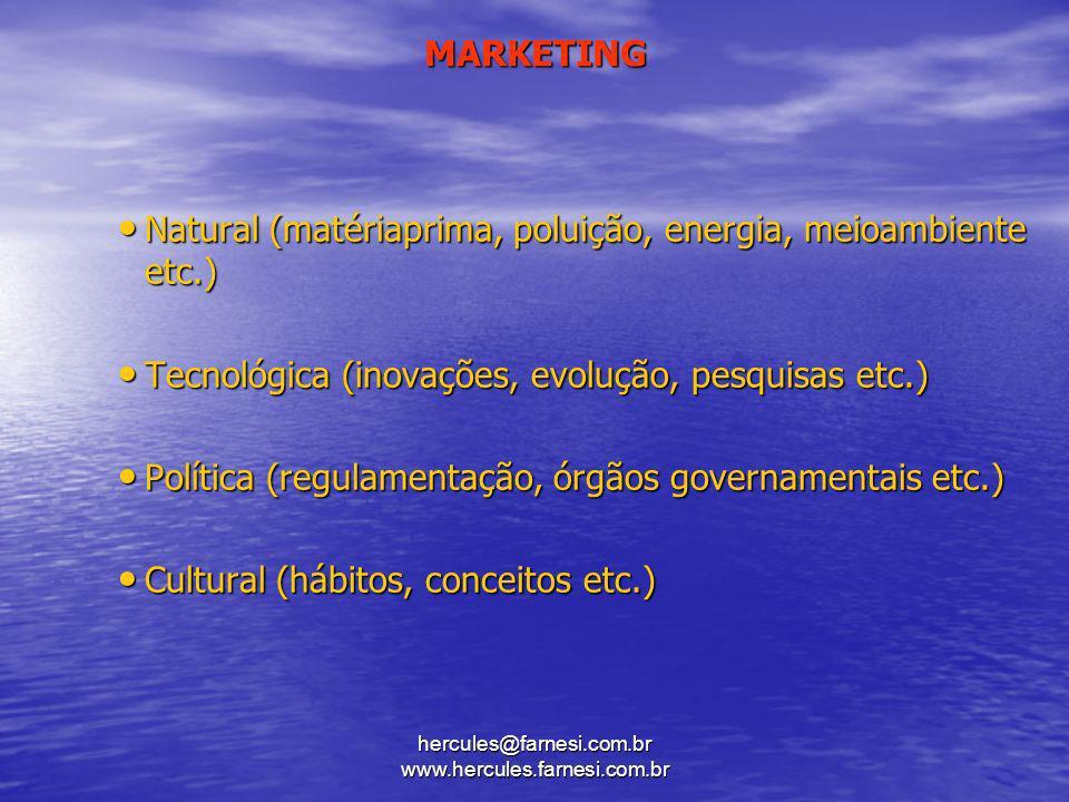 hercules@farnesi.com.br www.hercules.farnesi.com.br MARKETING Natural (matériaprima, poluição, energia, meioambiente etc.) Natural (matériaprima, p