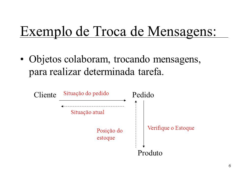 7 Operações: mostrarIdade(pessoa1: Pessoa) : integer Operações são serviços oferecidos pelos objetos da classe a outros objetos.