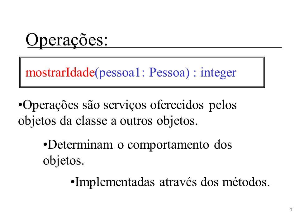 7 Operações: mostrarIdade(pessoa1: Pessoa) : integer Operações são serviços oferecidos pelos objetos da classe a outros objetos. Implementadas através