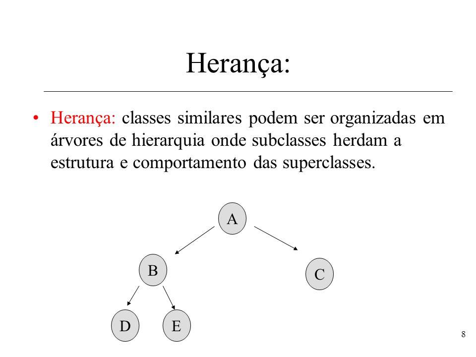8 Herança: Herança: classes similares podem ser organizadas em árvores de hierarquia onde subclasses herdam a estrutura e comportamento das superclass