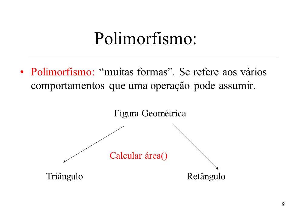 9 Polimorfismo: Polimorfismo: muitas formas. Se refere aos vários comportamentos que uma operação pode assumir. Figura Geométrica TriânguloRetângulo C