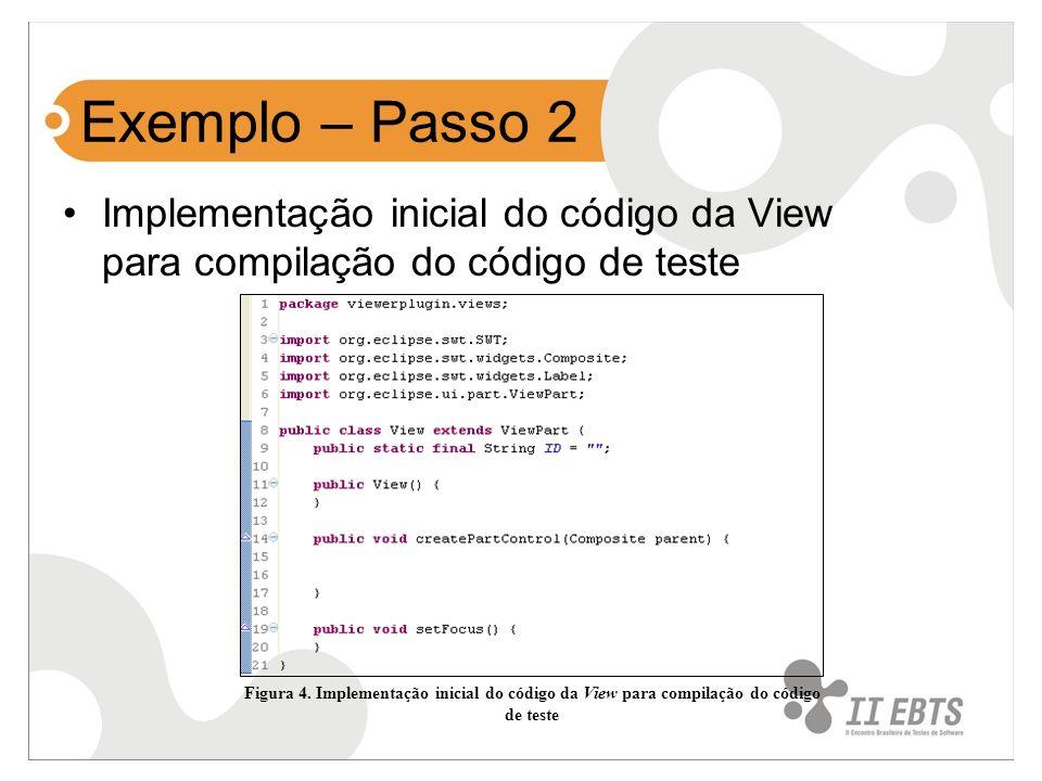 Exemplo – Passo 2 Implementação inicial do código da View para compilação do código de teste Figura 4. Implementação inicial do código da View para co