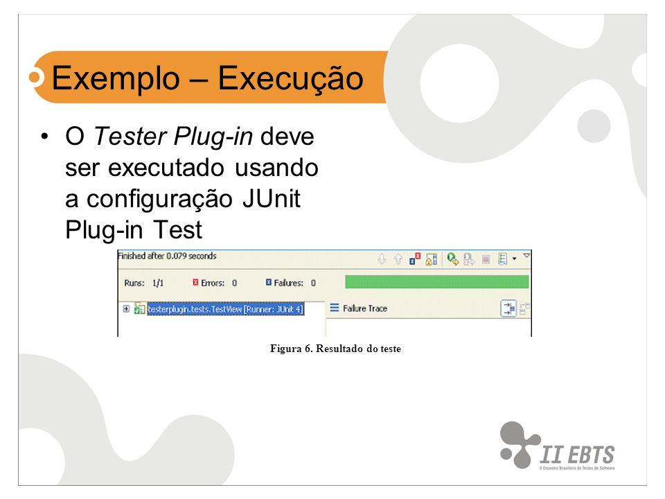 Exemplo – Execução O Tester Plug-in deve ser executado usando a configuração JUnit Plug-in Test Figura 6. Resultado do teste